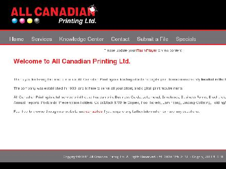 All Canadian Printing Ltd (403-234-1939) - Onglet de site Web - http://www.allcanadianprinting.com
