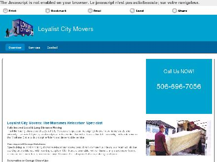 Loyalist City Movers (506-696-7056) - Onglet de site Web - http://loyalistcitymovers.ca/