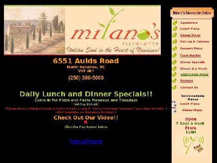 Milano's Ristorante (250-390-7023) - Onglet de site Web - http://www.milanos.ca