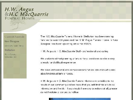 Angus H W Funeral Home (1-855-226-2214) - Onglet de site Web - http://www.angusfuneralhomes.com