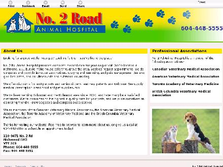 No 2 Rd Animal Hospital (604-448-5555) - Onglet de site Web - http://no2rdanimalhospital.com
