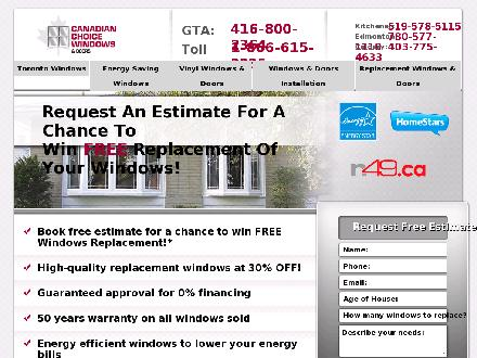 Canadian Choice Windows & Doors (416-848-6930) - Website thumbnail - http://www.windowscanada.com