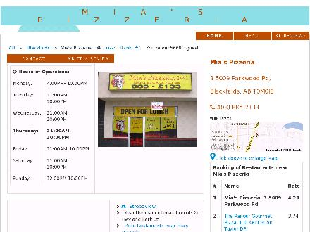 Mia's Pizzeria 2 For 1 Pizza Pasta Donair Fried Chicken (403-885-2133) - Website thumbnail - http://miaspizzeria.foodpages.ca