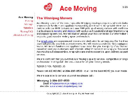 A-Ace Moving (204-237-0533) - Website thumbnail - http://www.acemovingwinnipeg.com