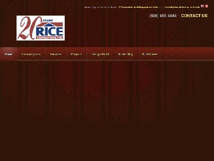 Rice Contracting Ltd (506-855-4044) - Onglet de site Web - http://www.ricecontracting.com