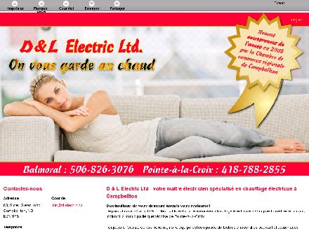 D & L Electric Ltd (506-753-5076) - Onglet de site Web - http://dlelectric.ca/