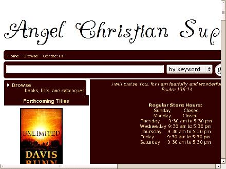 Angel Christian Supplies (604-535-4211) - Onglet de site Web - http://www.angelchristianbooks.ca/