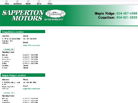 Sapperton Motors Auto Service Ltd (604-521-2635) - Website thumbnail - http://www.sappertonmotors.com