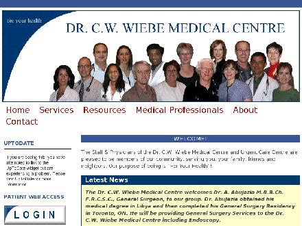 Dr C W Wiebe Medical Centre (204-325-4312) - Website thumbnail - http://www.cwwiebemedical.ca