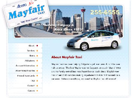 Mayfair Taxi Ltd (403-255-6555) - Onglet de site Web - http://www.mayfairtaxi.com