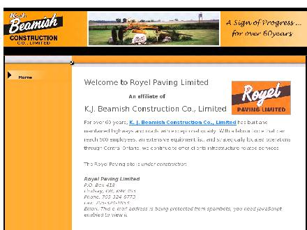 Royel Paving Limited (705-324-6773) - Website thumbnail - http://www.royelpaving.ca