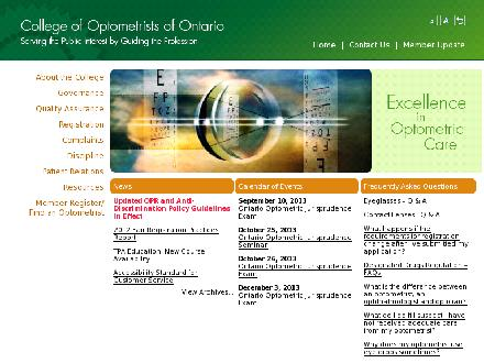 College Of Optometrists Of Ontario (1-888-825-2554) - Onglet de site Web - http://www.collegeoptom.on.ca