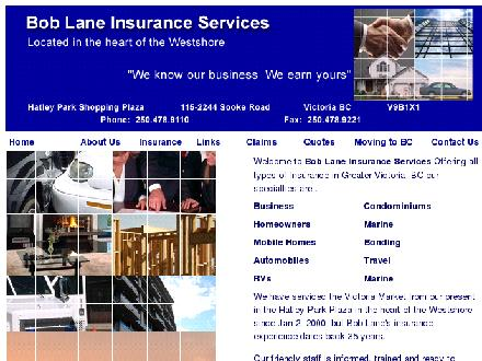 Bob Lane Insurance Services (250-478-9110) - Website thumbnail - http://www.boblaneinsurance.com