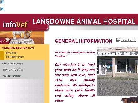 Lansdowne Animal Hospital (604-276-2423) - Onglet de site Web - http://www.lansdownevet.infovet.ca