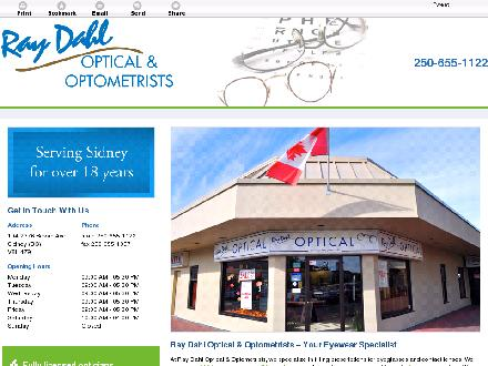 Ray Dahl Optical (250-655-1122) - Onglet de site Web - http://raydahloptical.ca/