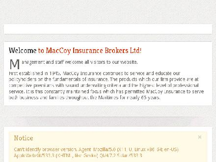 MacCoy Insurance Brokers Ltd (902-539-7001) - Onglet de site Web - http://www.maccoyinsurance.ca