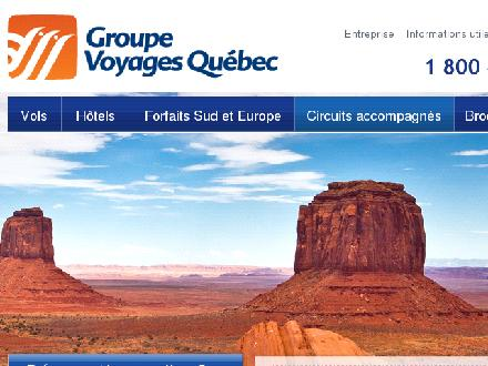 Groupe Voyages Qu&eacute;bec Inc (418-525-4585) - Onglet de site Web - http://www.gvq.ca