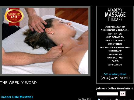 Academy Massage Therapy (204-489-5050) - Website thumbnail - http://www.academymassage.ca