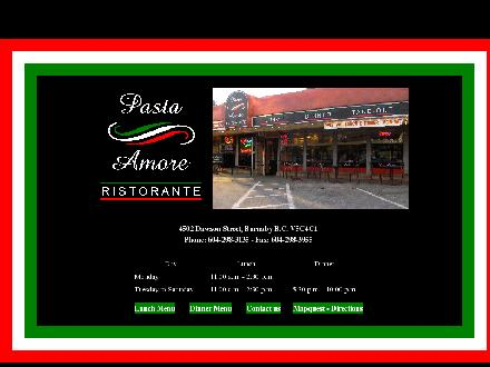 Pasta Amore Pizzeria Ristorante (604-298-3135) - Onglet de site Web - http://www.pastaamore.ca