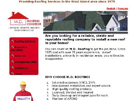 Couverture M D Roofing (514-500-6718) - Onglet de site Web - http://www.mdroofing.ca