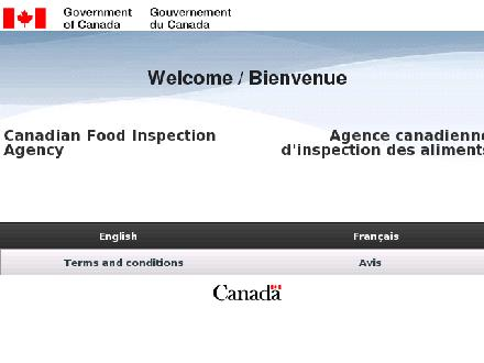 Agence canadienne d'inspection des aliments (722-3773) - Onglet de site Web - http://www.inspection.gc.ca