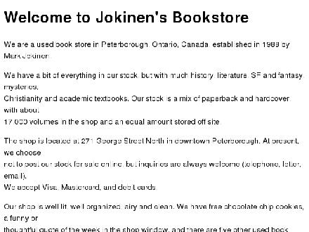 Jokinen Mark Books (705-742-4514) - Onglet de site Web - http://www.jokinenbookstore.com