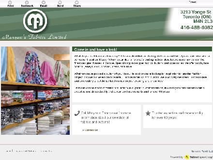Maryan's Fabric Ltd (416-488-6111) - Website thumbnail - http://maryansfabrics.com/