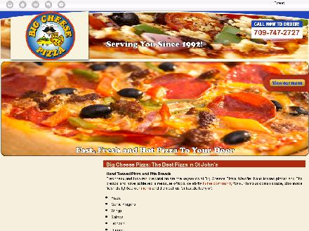 Big Cheese Pizza (709-747-2727) - Website thumbnail - http://bigcheesepizza.ca/