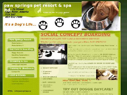 Paw Springs Pet Resort &amp; Spa Ltd (403-652-7800) - Onglet de site Web - http://www.pawsprings.ca