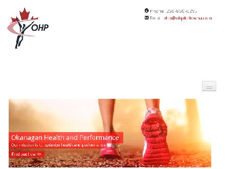 Okanagan Health & Performance (250-980-0605) - Website thumbnail - http://www.ohpkelowna.com