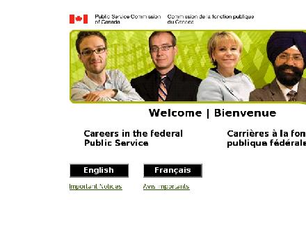 Public Service Commission of Canada (1-800-645-5605) - Onglet de site Web - http://www.jobs.gc.ca
