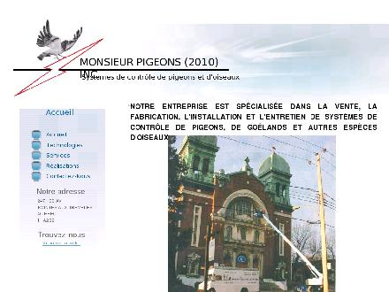 Monsieur Pigeons (2010) Inc (514-642-5998) - Onglet de site Web - http://www.mpigeons.ca