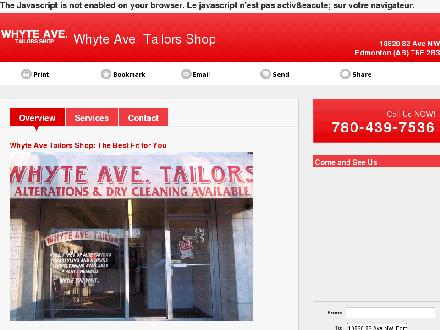 Whyte Ave Tailors Shop (780-439-7536) - Website thumbnail - http://whyteavetailorsshop.ca