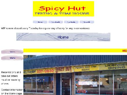 Spicy Hut (403-237-0830) - Website thumbnail - http://www3.telus.net/public/kong-l