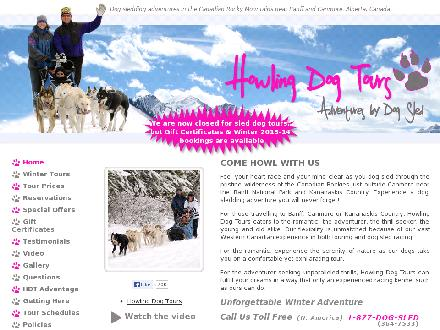 Howling Dog Tours (403-678-9588) - Website thumbnail - http://www.howlingdogtours.com