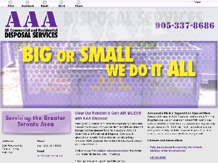 AAA-All Commercial & Residential Disposal Services (289-813-1957) - Website thumbnail - http://aaadisposal.org/