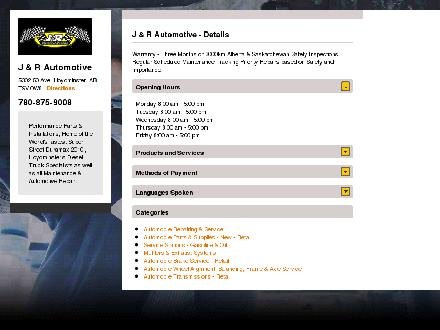 J & R Automotive Service (780-875-9008) - Website thumbnail - http://www.jandrperformance.ca