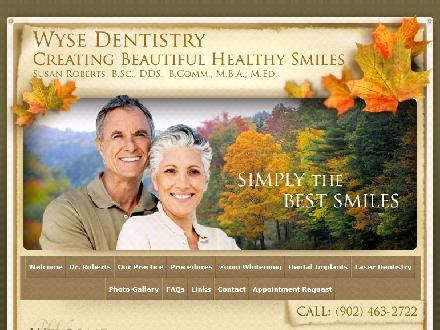 Roberts S K Dr (902-702-2086) - Onglet de site Web - http://www.wysedentistry.com