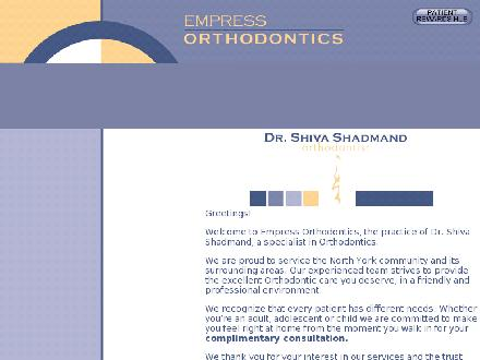 Empress Orthodontics (416-224-1881) - Website thumbnail - http://www.empressortho.ca/home.asp
