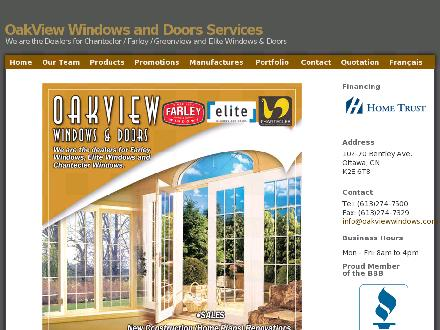 Oakview Windows & Doors (613-274-7500) - Onglet de site Web - http://www.oakviewwindows.com