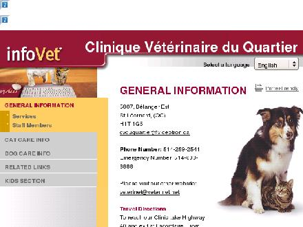 Clinique V&eacute;t&eacute;rinaire Du Quartier (514-259-2541) - Onglet de site Web - http://www.cvduquartier.infovet.ca