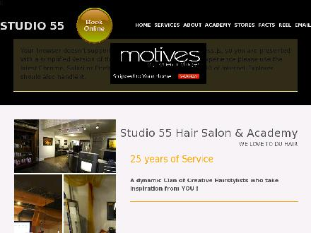 Studio 55 Hair Salon (905-374-6266) - Onglet de site Web - http://www.studio55salon.com