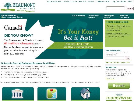 Beaumont Credit Union (780-929-8561) - Onglet de site Web - http://www.beaumontcu.com