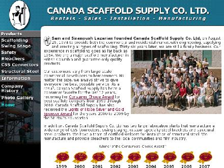 Canada Scaffold Supply Co Ltd (604-696-4759) - Onglet de site Web - http://www.canadascaffold.com