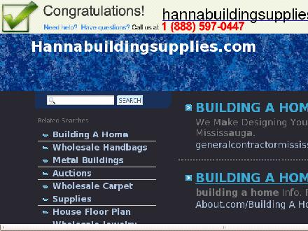 Hanna Building Supplies (403-854-2802) - Website thumbnail - http://www.hannabuildingsupplies.com