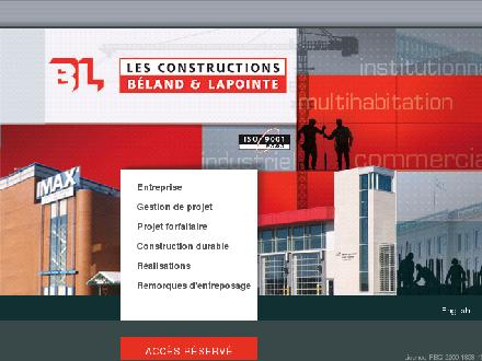 Constructions B&eacute;land &amp; Lapointe Inc (Les) (418-831-8638) - Onglet de site Web - http://www.beland-lapointe.com