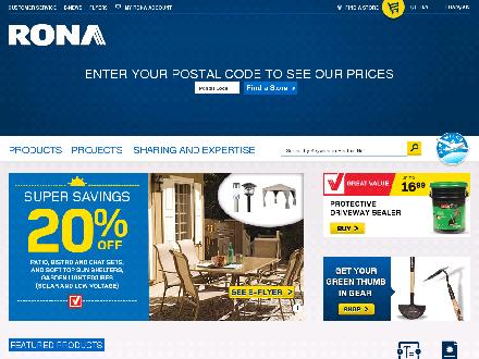 RONA (1-855-215-8748) - Onglet de site Web - http://www.rona.ca