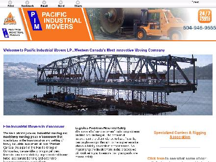 Pacific Industrial Movers LP (604-946-9665) - Website thumbnail - http://industrial-moving.ca/