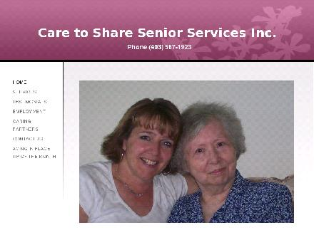 Care To Share Senior Services (403-567-1923) - Onglet de site Web - http://www.caretoshare.ca
