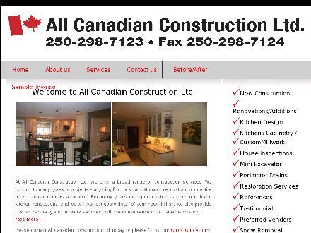 All Canadian Construction Ltd (250-298-7123) - Onglet de site Web - http://www.allcanadianconstruction.com